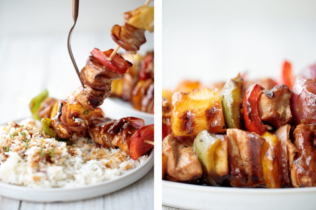 Juicy and tender teriyaki chicken skewers with pineapple, bell peppers and red onions are sticky, sweet, savoury, and tangy. So flavourful and delicious.   aheadofthyme.com