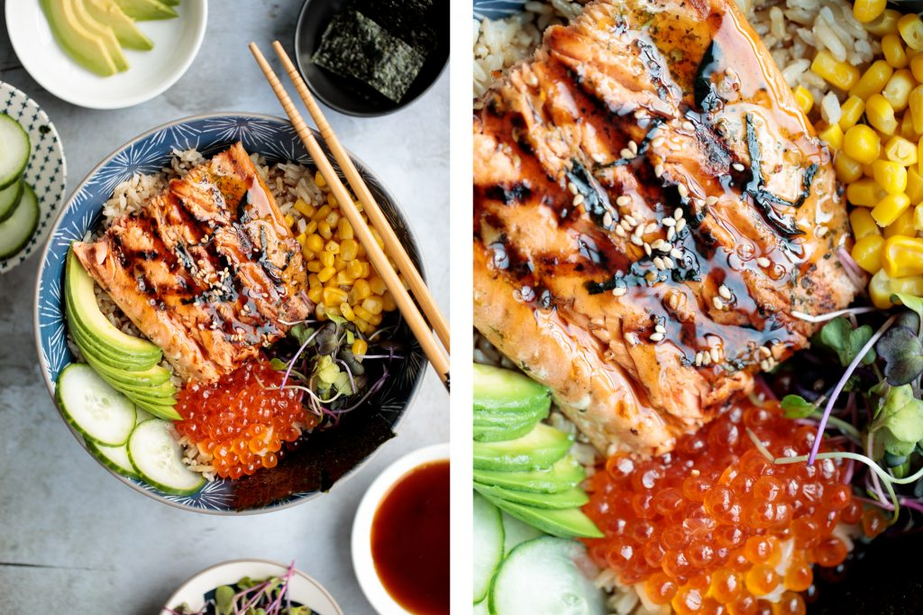 Easy to make, light and fresh teriyaki grilled salmon rice bowl is topped with vegetables, seaweed and salmon roe, with homemade teriyaki sauce on top. | aheadofthyme.com