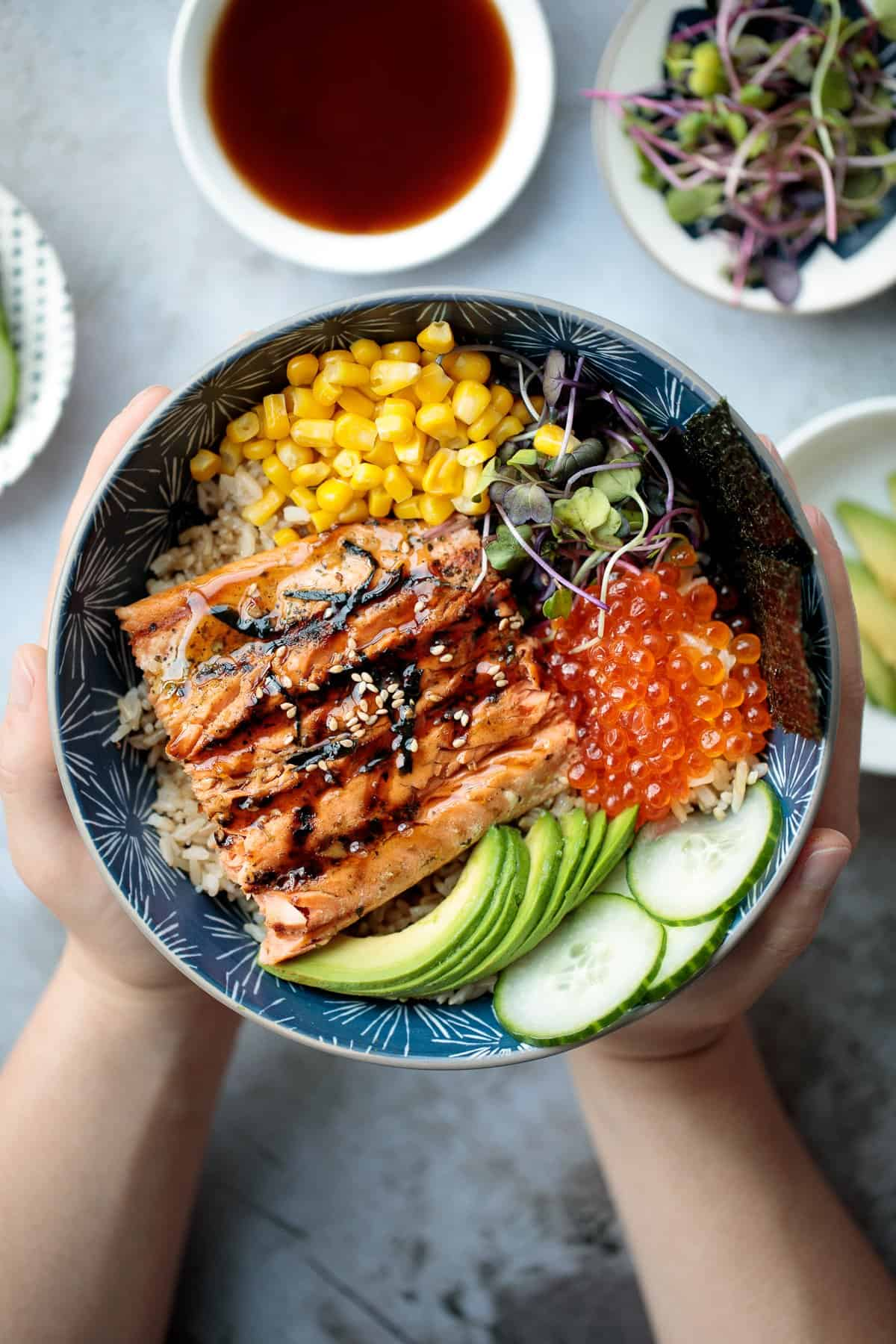 Teriyaki Grilled Salmon Rice Bowl Ahead Of Thyme