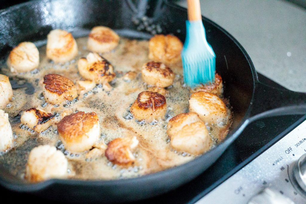 Garlicky, buttery, and perfectly seared scallops take less than 10 minutes to prep and cook. It's the easiest fancy, restaurant-grade meal to make at home.   aheadofthyme.com