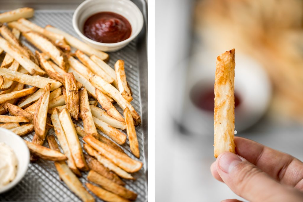 Super crispy air fryer french fries are tender and fluffy on the inside and crunchy on the outside. Make this healthier french fry in just 12 minutes! | aheadofthyme.com