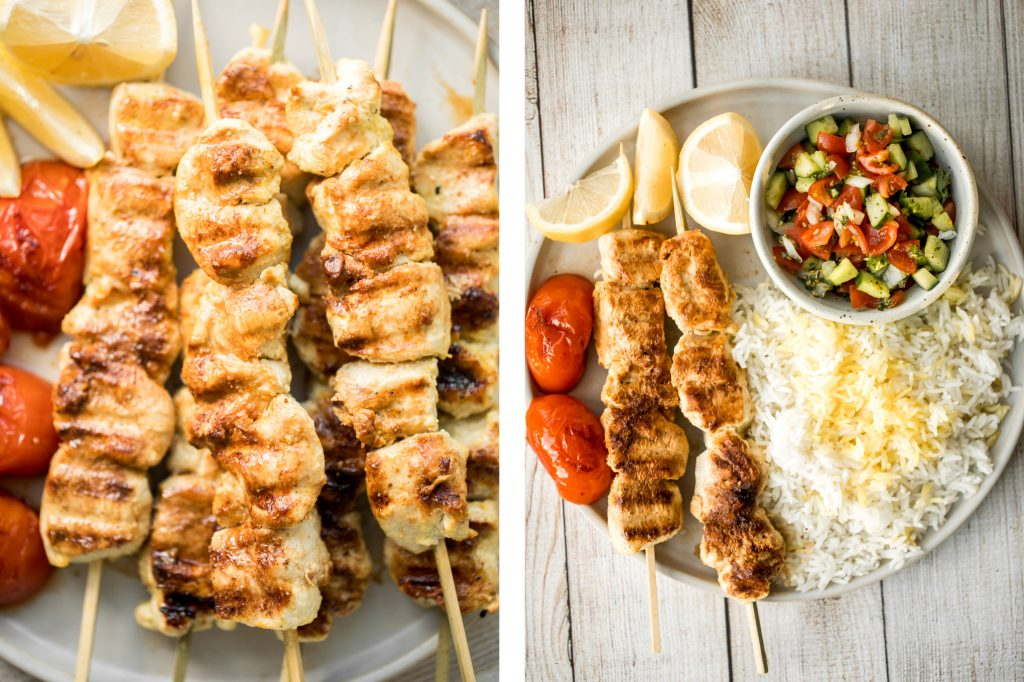 Quick and easy, classic Persian saffron chicken kebabs (joojeh kabob) is marinated in a simple saffron and lemon marinade for that classic Iranian flavour. | aheadofthyme.com