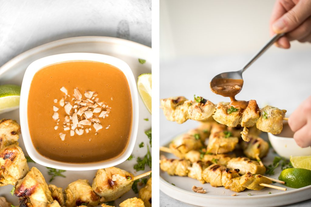 Better than takeout, easy to make tender chicken satay skewers with coconut marinade and homemade peanut dipping sauce is savoury, sweet, tangy, and nutty. | aheadofthyme.com