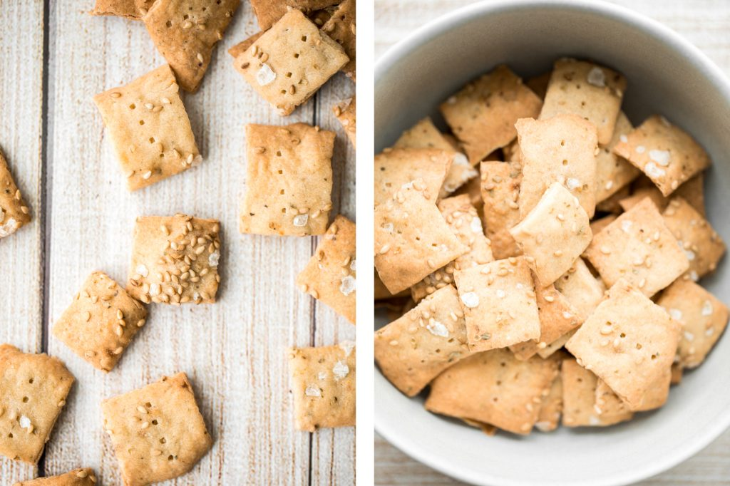 Quick and easy sourdough discard crackers are thin, crispy, crunchy and flavoured with sesame seeds, dried herbs and flaked salt. They are so addictive.   aheadofthyme.com