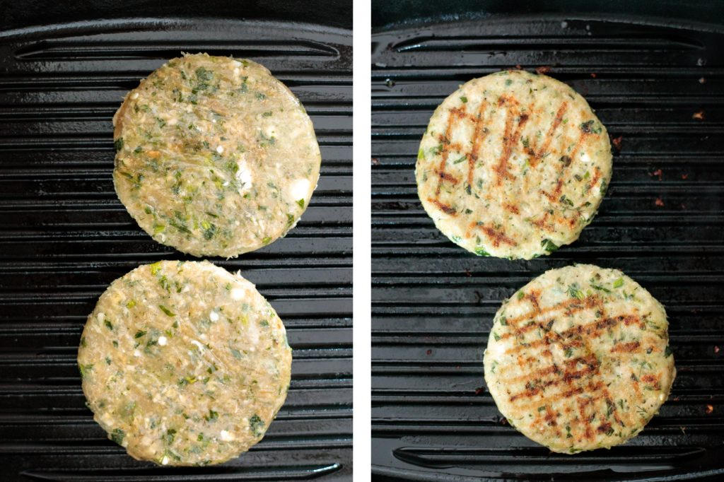 Greek-style spinach and feta turkey burgers are tender, juicy, and flavourful, loaded with spinach, feta and fresh Mediterranean herbs + so easy to prep. | aheadofthyme.com