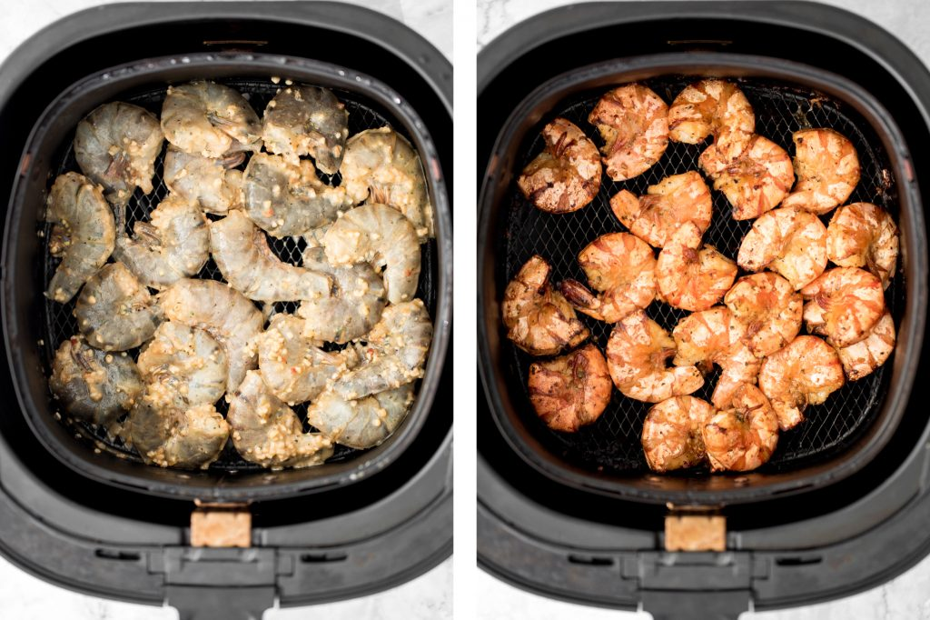 10-minute air fryer jumbo shrimp is juicy and tender on the inside, and crispy on the outside. It's so flavourful and garlicky with Asian seasonings. | aheadofthyme.com