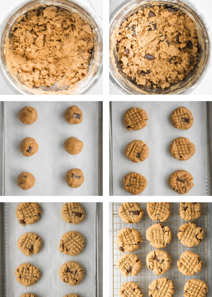 These perfectly soft, chewy and a little crumby chocolate chunk peanut butter cookies literally melts in your mouth. Make them in under 20 minutes. | aheadofthyme.com