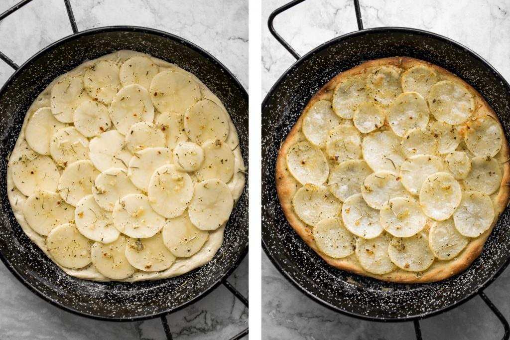 Easy and simple yet flavourful classic Roman herbed potato pizza has a crispy thin crust with layers of tender potato tossed in olive oil and herbs. | aheadofthyme.com