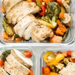 Quick and easy, throw everything into one pan, Asian-style meal prep sheet pan sesame balsamic chicken and vegetables is flavourful, juicy and tender. | aheadofthyme.com