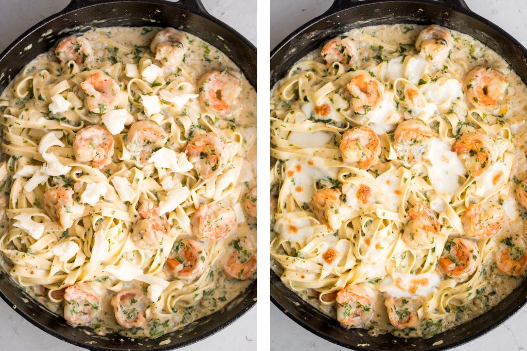 Creamy shrimp fettuccine alfredo pasta bake is garlicky, buttery, cheesy, loaded with shrimp + parsley and topped with mozzarella. Easy comfort food goals. | aheadofthyme.com