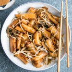 Stir-Fried Rice Noodle Rolls with Peanut Butter Sauce