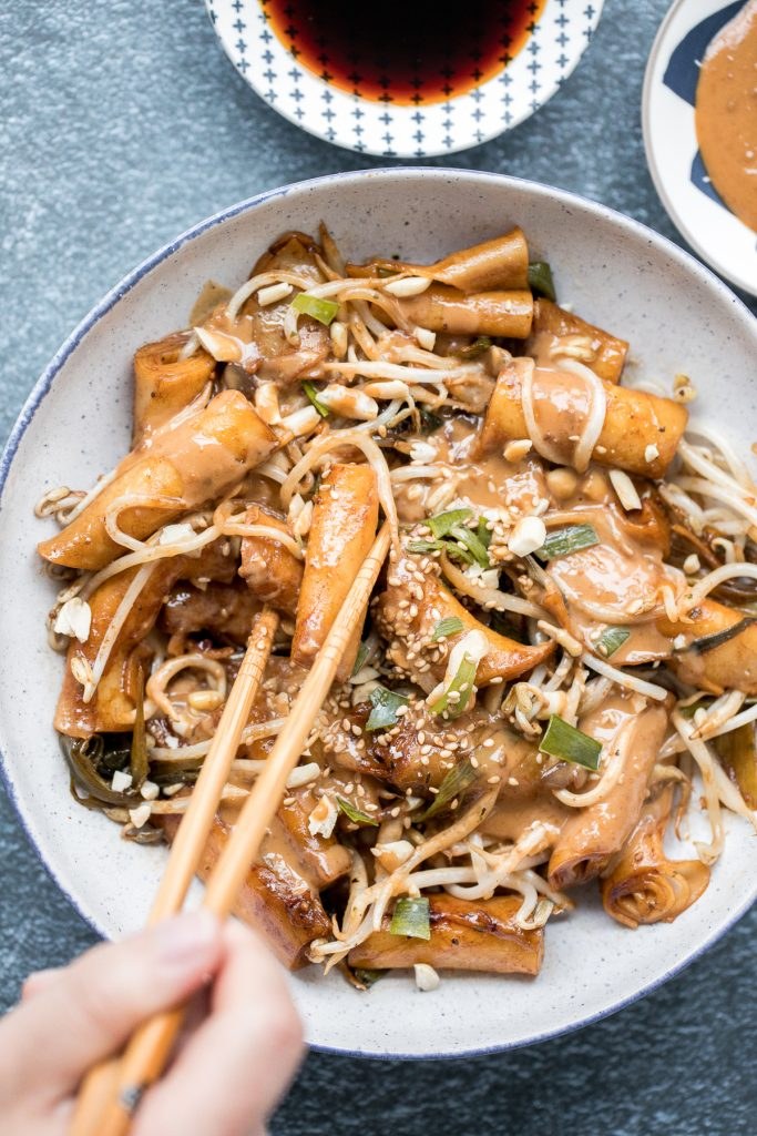Better than takeout, quick and easy one pan stir-fried rice noodle rolls with peanut butter sauce is the best weeknight stir fry, ready in under 10 minutes.   aheadofthyme.com