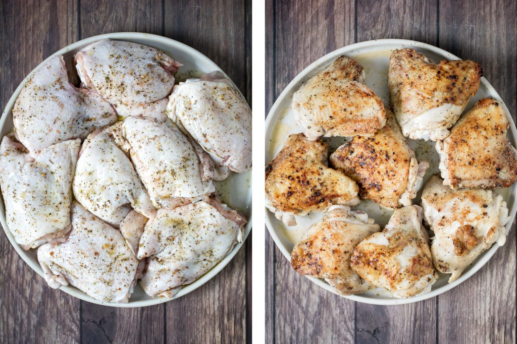 Tender and juicy apple dijon braised chicken thighs with potatoes is juicy, tender and so succulent that it falls off the bone, yet so crispy outside. | aheadofthyme.com
