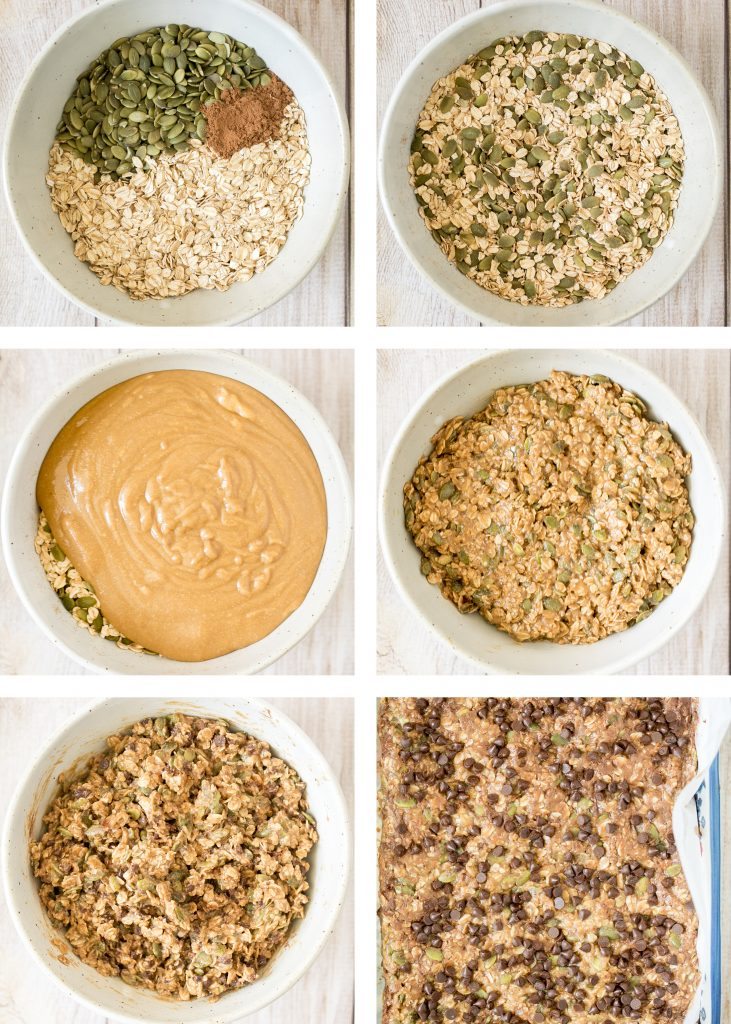 Chewy chocolate chip peanut butter granola bars are healthy, vegan, gluten-free, and refined sugar-free. Prep them in just 10 minutes to snack on for weeks. | aheadofthyme.com