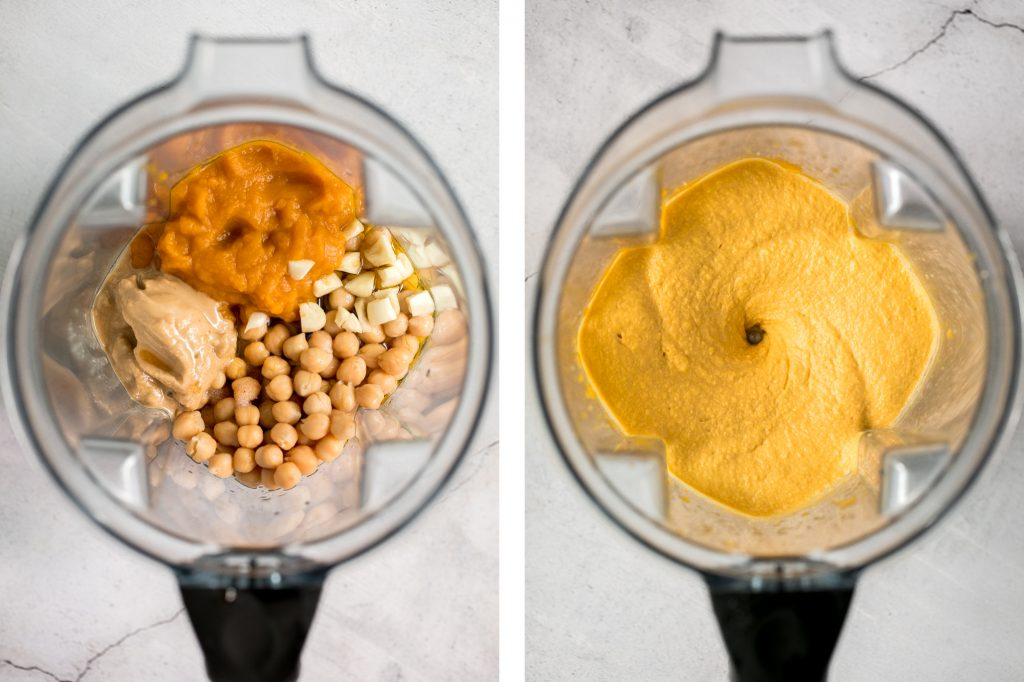 Make creamy pumpkin hummus in under 5 minutes with a few pantry staples including canned pumpkin. It's the best healthy and delicious fall snack or appy. | aheadofthyme.com