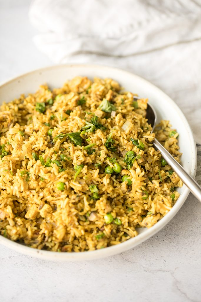 Flavourful curry chicken fried rice with chicken, mushrooms, peas, rice, and curry flavours is so easy to make in less than 10 minutes on busy weeknights. | aheadofthyme.com