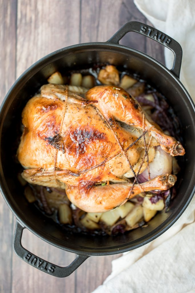 Dutch Oven Whole Roast Chicken Ahead Of Thyme