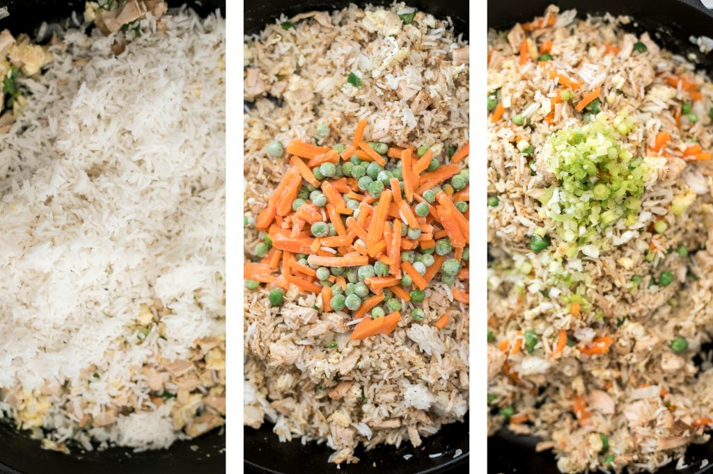 Leftover turkey fried rice with turkey, fluffy rice, scrambled eggs, vegetables, and classic Asian seasonings is a one skillet meal made in just 10 minutes. | aheadofthyme.com