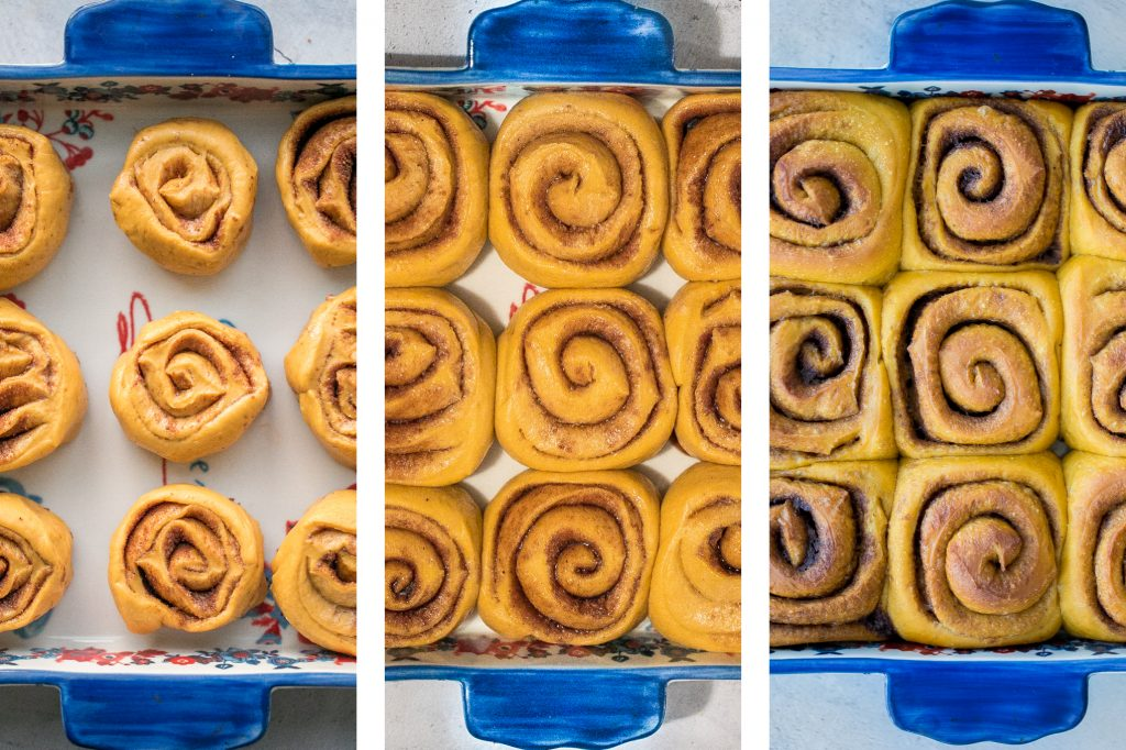 Soft and fluffy, pumpkin cinnamon rolls are packed with pumpkin, layered with pumpkin spice, and topped with cream cheese icing. Best fall treat ever. | aheadofthyme.com