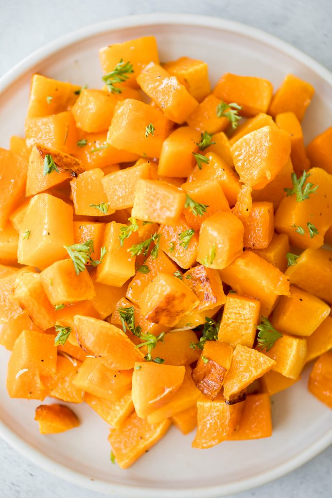 Roasted butternut squash is the easiest vegan side dish you need this fall. It has a ton of flavour with just a few simple pantry staples. | aheadofthyme.com