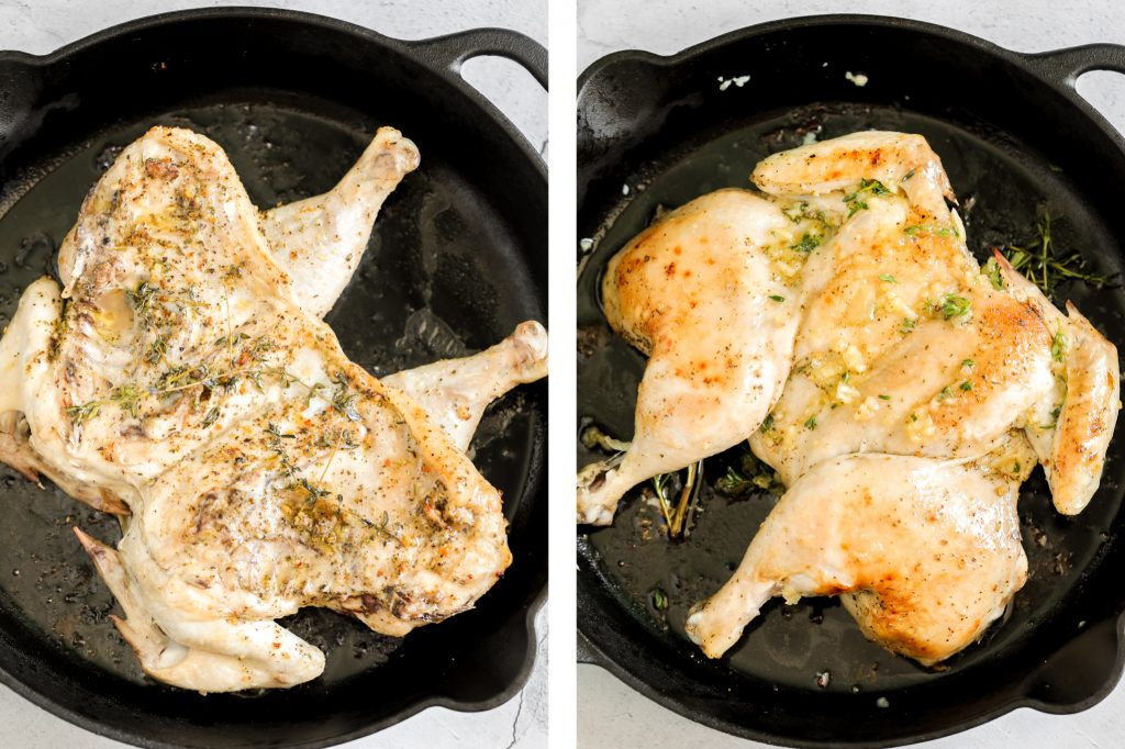 Quick and easy roasted spatchcock chicken (butterflied chicken) seasoned with garlic and thyme is juicy, tender, delicious and flavourful with minimal prep. | aheadofthyme.com