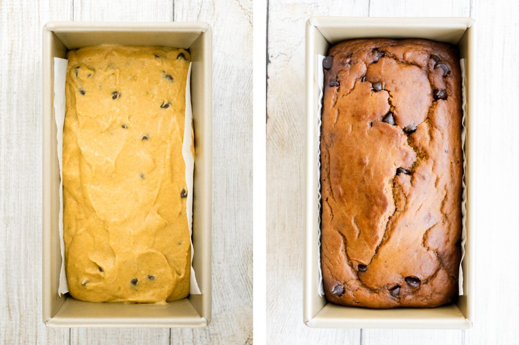 Soft and moist, small batch chocolate chip pumpkin bread is the easiest fall treat, packed with fall flavours of warm pumpkin spice, pumpkin, and chocolate.   aheadofthyme.com