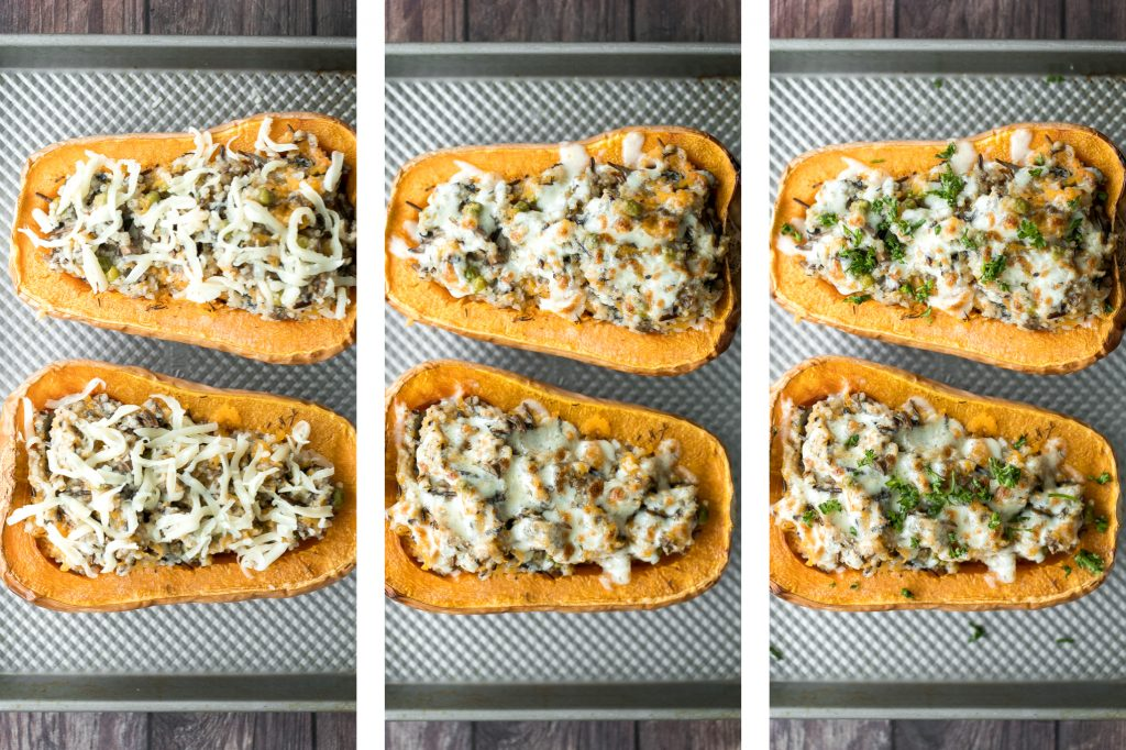 Healthy hearty and wholesome stuffed butternut squash with wild rice and mushrooms is an easy cozy vegetarian fall dinner or side. The best comfort food. | aheadofthyme.com