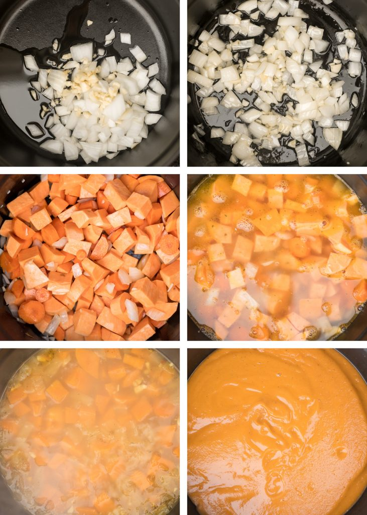 One pot sweet potato soup is super silky, creamy and vegan, and packed with fall flavours. Make this quick and easy fall and winter soup in 30 minutes. | aheadofthyme.com