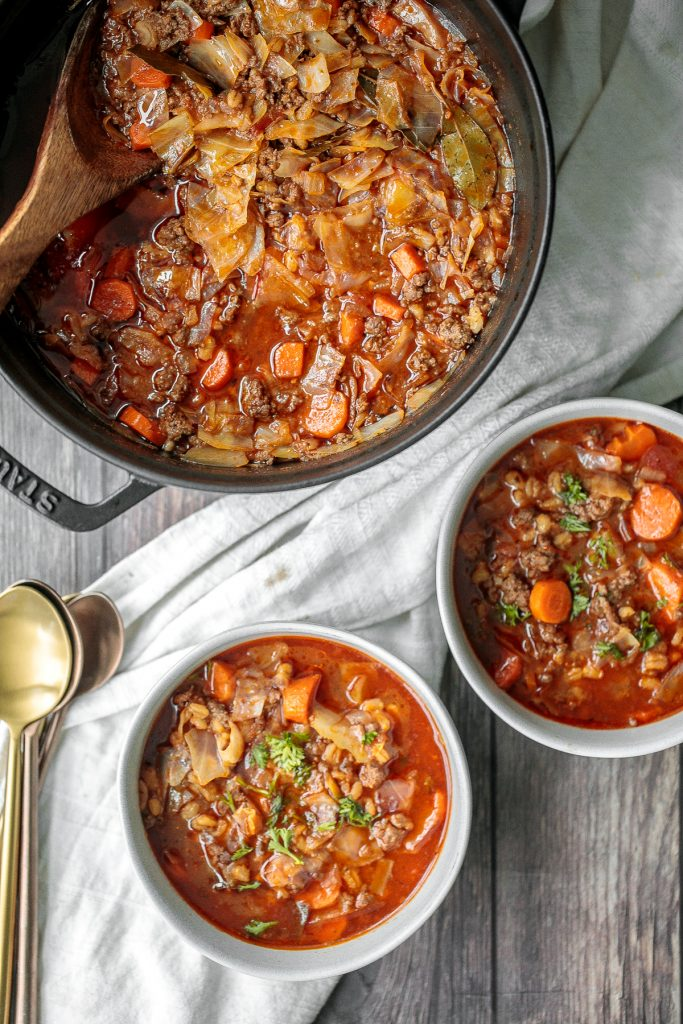 Hearty beef cabbage barley soup is wholesome, filling and flavourful. This one pot meal can be made ahead and is freezer-friendly. Prep it in 10 minutes. | aheadofthyme.com