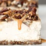 Caramel Pecan Pie Cheesecake Bars