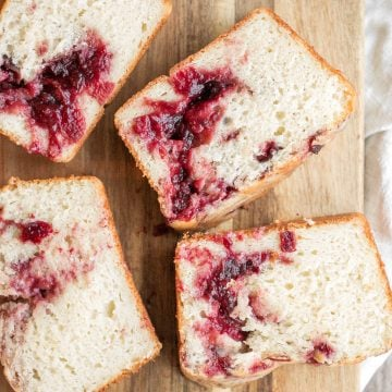 Leftover cranberry sauce swirl pound cake is moist and tender with swirls of cranberry sauce for a sweet and tangy burst of flavour. So easy and delicious. | aheadofthyme.com