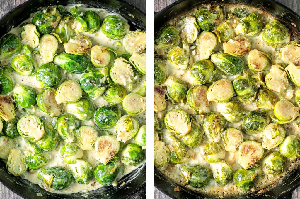 Delicious, garlicky, cheesy and creamy brussels sprouts bake is the ultimate comfort food side dish. So flavourful and the best way to eat brussels sprouts. | aheadofthyme.com