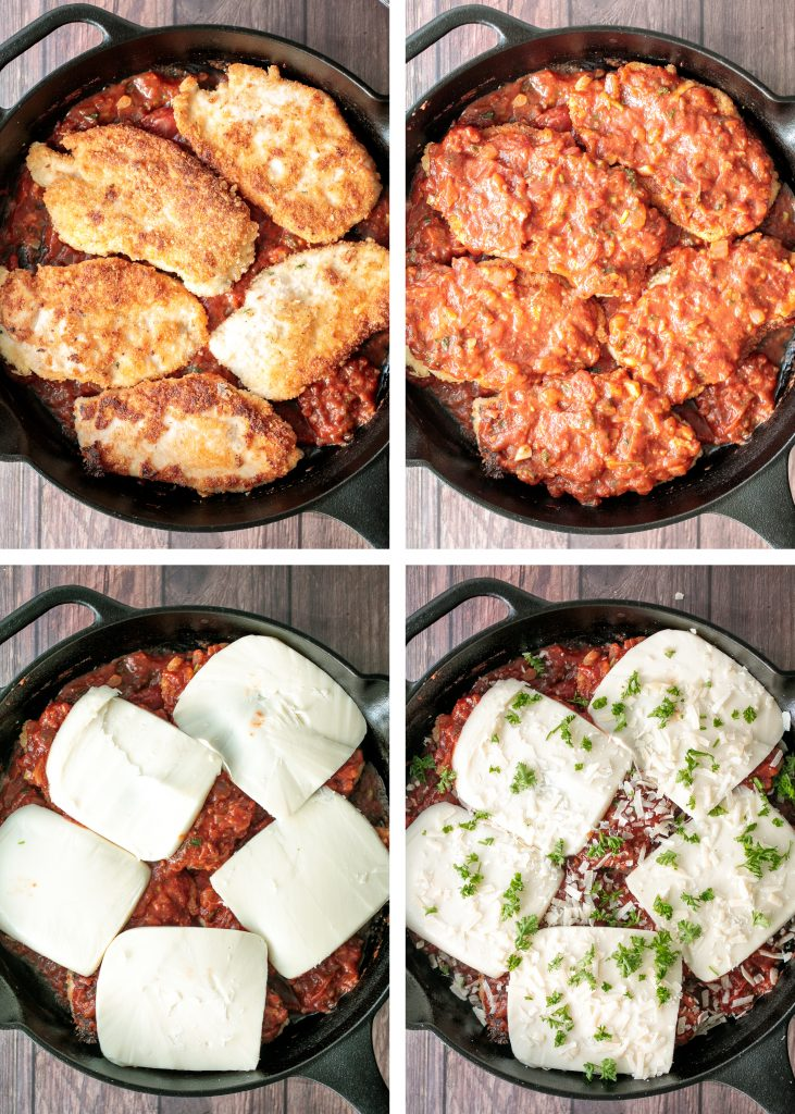 Easy chicken parmesan (parmigiana) with crispy breaded chicken, tomato sauce, and melted mozzarella and parmesan cheese. The best comfort chicken dinner. | aheadofthyme.com