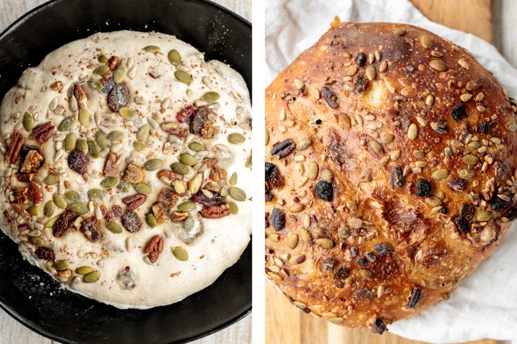 Fruit and nut sourdough bread is chewy and airy with a crunchy crackly crust is so delicious, packed with dried figs, raisins, walnuts, and seeds. | aheadofthyme.com