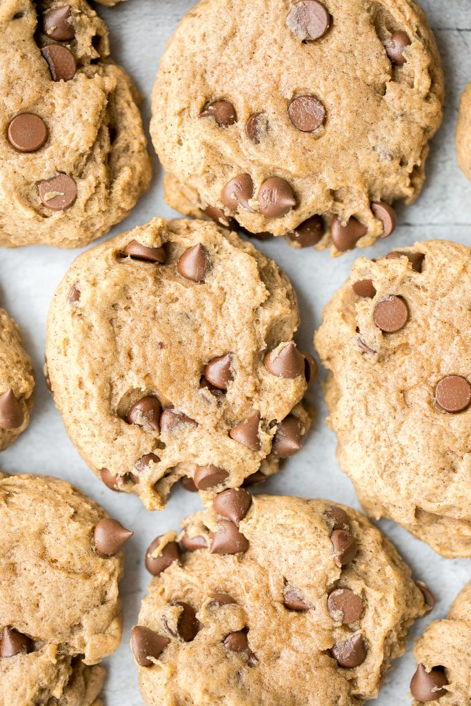 Thick, fluffy, chewy pumpkin chocolate chip cookies is when pumpkin bread meets chocolate chip cookies. These no chill cookies are ready in under 20 mins. | aheadofthyme.com