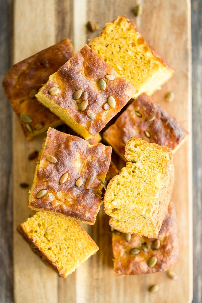 Delicious, easy pumpkin focaccia bread with fresh herbs is soft, fluffy, and springy, yet so crispy on the outside. Just 15 minutes of actual prep required. | aheadofthyme.com
