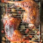 Tender, succulent and flavourful, easy roasted turkey legs with crispy skin and vegetables is a complete wholesome turkey dinner and family favourite. | aheadofthyme.com