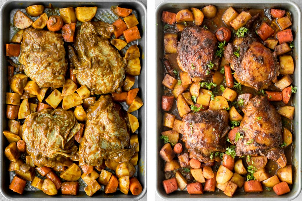 Sheet pan curry chicken and vegetables with tender chicken thighs marinated in a delicious flavourful curry marinade is a complete one pan dinner.   aheadofthyme.com