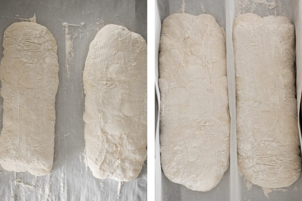 Soft, airy, artisan small batch sourdough ciabatta bread is light and fluffy inside with perfect air holes and a crunchy, crackly crust. Delicious and easy. | aheadofthyme.com