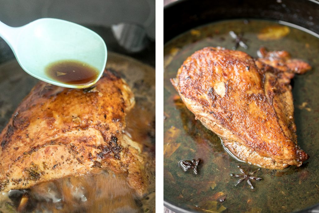 Soy glazed braised turkey breast with Asian five-spice is moist, tender, succulent and the juiciest turkey ever with browned and crispy skin. So flavourful. | aheadofthyme.com