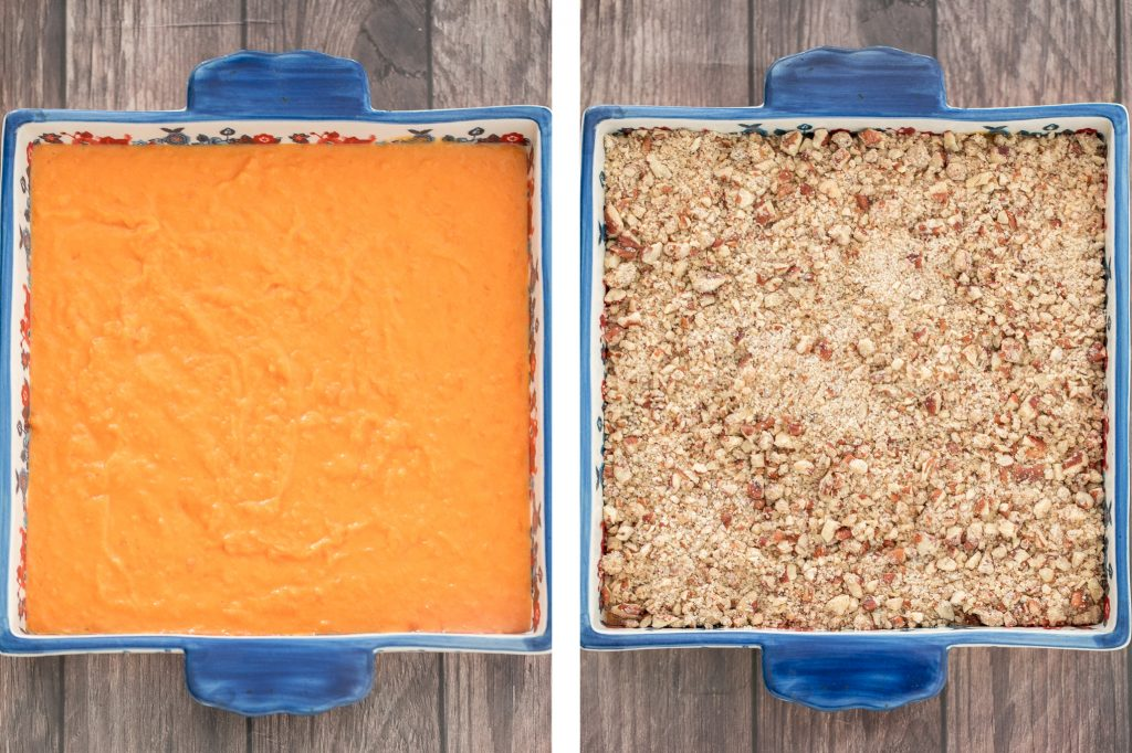Sweet potato casserole with pecans packed with tender sweet potatoes and a buttery crunchy pecan topping is the best fall side dish for Thanksgiving dinner. | aheadofthyme.com