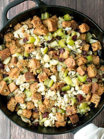 Easy vegetarian cornbread stuffing is the perfect make-ahead side dish to serve this Thanksgiving. So flavourful, moist and soft, yet crispy golden on top.   aheadofthyme.com