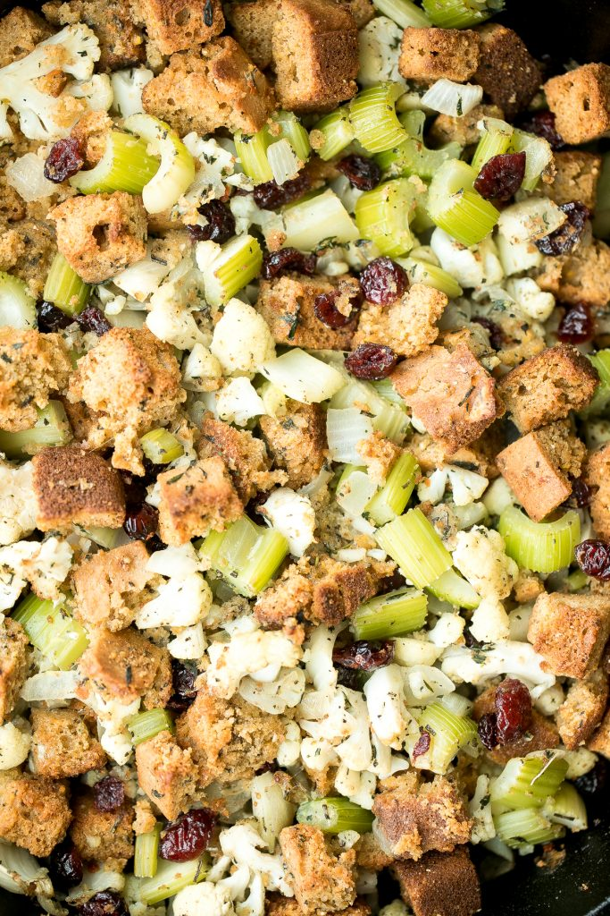 Easy vegetarian cornbread stuffing is the perfect make-ahead side dish to serve this Thanksgiving. So flavourful, moist and soft, yet crispy golden on top. | aheadofthyme.com