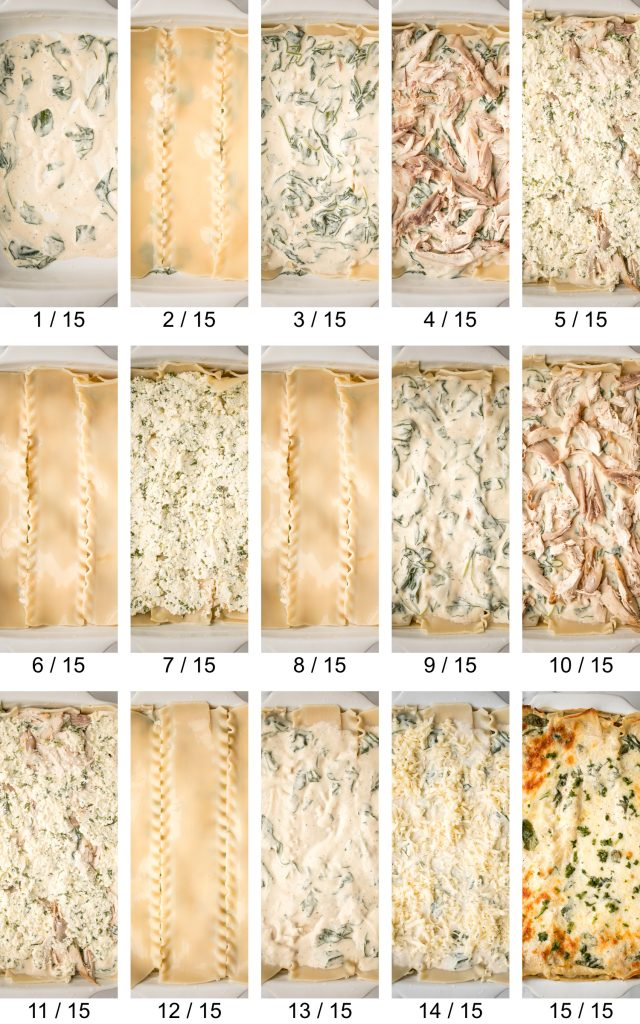 Creamy white chicken and spinach lasagna with tender shredded chicken is the most comforting creamiest cheesiest white lasagna. Easy to make ahead & freeze. | aheadofthyme.com