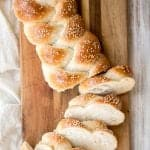 Beautiful three-strand braided loaves of easy challah bread are light, soft and fluffy, with a golden brown crust. Rich in flavour and slightly sweet. | aheadofthyme.com
