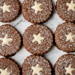 Gingerbread Linzer Cookies with White Chocolate