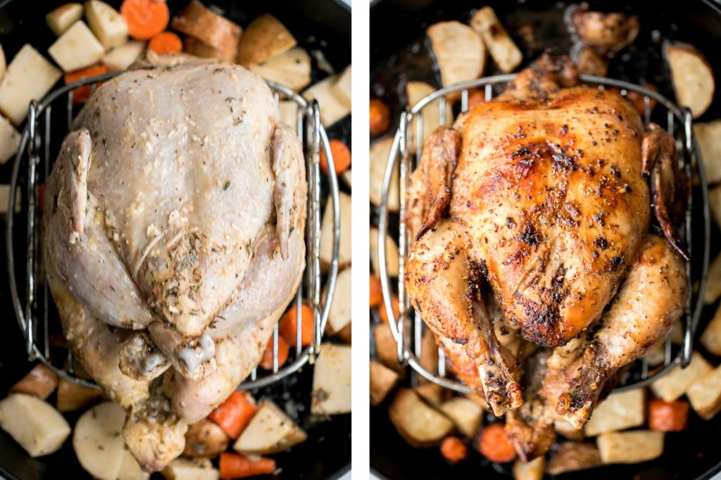 Easy Greek lemon garlic whole roast chicken is tender, juicy and succulent with the crispiest skin. Prep this flavourful one pan meal in just 15 minutes. | aheadofthyme.com