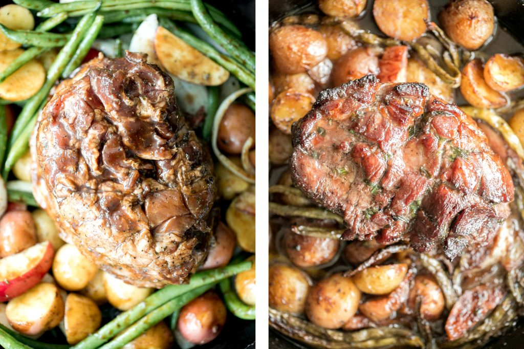 Easy one pan honey glazed roast pork is moist, tender, and juicy, coated with an irresistible honey glaze and packed with potatoes, green beans and apples. | aheadofthyme.com