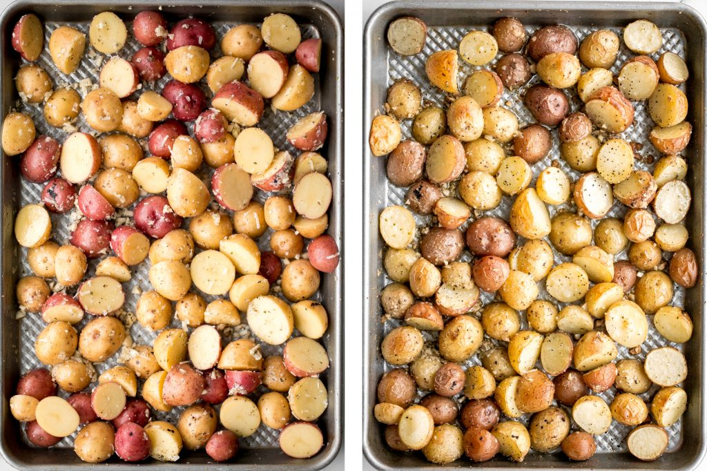 Quick and easy roasted garlic Parmesan baby potatoes are crispy on the edges and tender inside. They are delicious, flavourful and bakes in just 30 minutes. | aheadofthyme.com