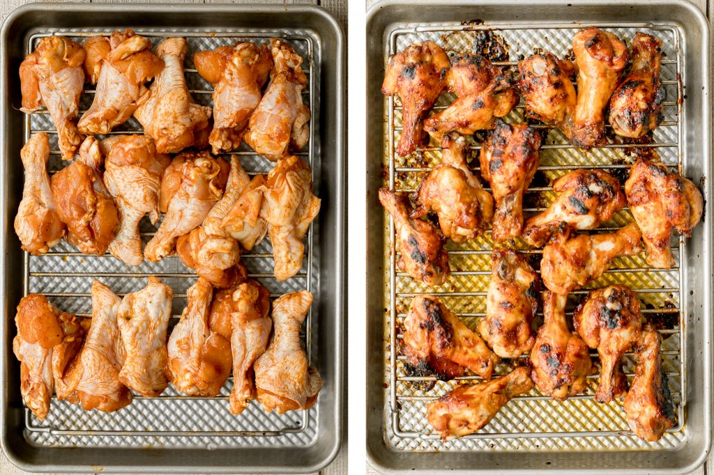 Sweet and sticky, baked BBQ chicken wings are perfectly crispy, so delicious, and smothered in barbecue sauce. They are the perfect game day appetizer. | aheadofthyme.com